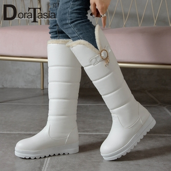 DORATASIA Big Size 30-44 New Ladies Knee High Boots Winter Warm Fur Boots Women 2020 Buckle Plush Casual Party Shoes Woman haraval handmade winter woman long boots luxury flock round toe soft heel shoes elegant casual warm retro buckle solid boots 289