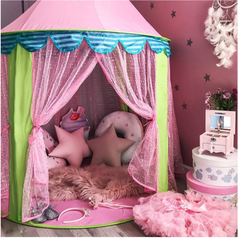 Folding Tipi Children Tent Play House Teepee Portable Toy Tents For Kids Baby Girl Indoor Ball Pit Playhouse Princess Castle