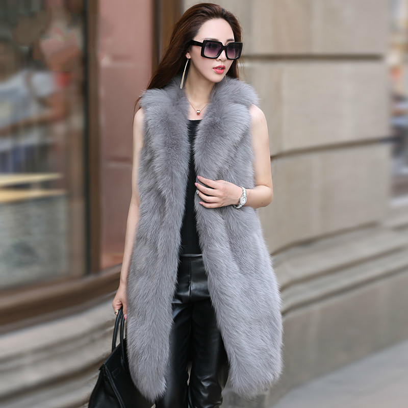 Real Fur Vest Long Fox Fur Coat Women Clothes 2020 Winter Furry Vest Fur Jackets And Coats Manteau Femme Hiver KJ1049