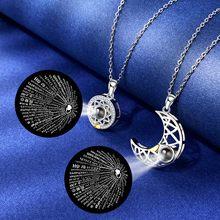 Sun lua forma casal personalizado colares casamento aniversário jóias 100 línguas eu amo você projeção pingente colar presentes