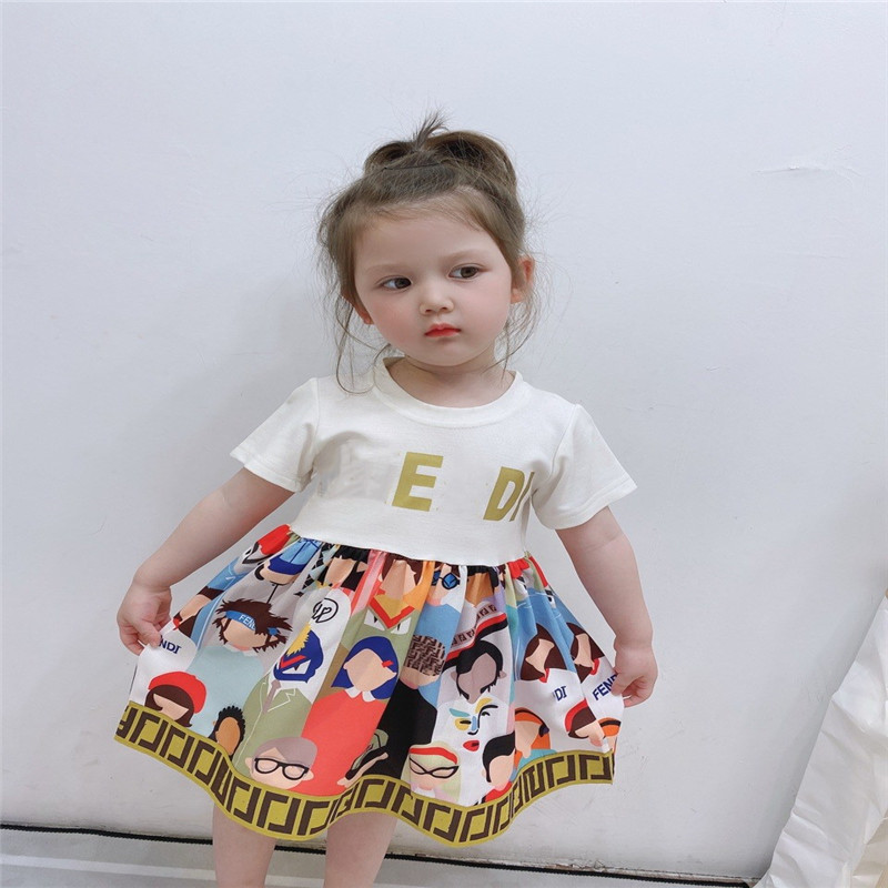 Summer  Girl Dress Short Sleeve  Splice Girls Dresses Printing Princess Teenage Casual Dress Daily Kids Dresses For Girls