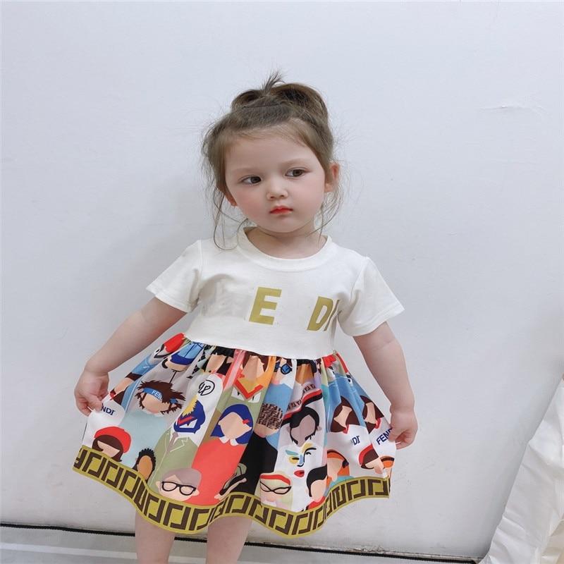 Summer  Girl Dress Short Sleeve  Splice Girls Dresses Printing Princess Teenage Casual Dress Daily Kids Dresses For Girls