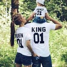 Pai mãe filha filho roupas família combinando rei rainha princesa príncipe t-shirts casual carta imprimir manga curta camisetas