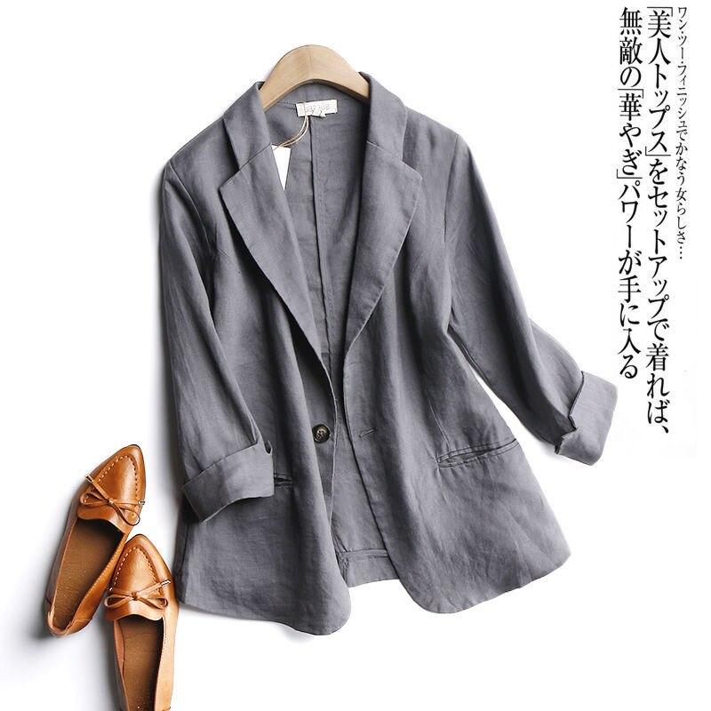 Big Discount 1c1344 2020 Summer Arts Style Women 3 4 Sleeve Loose Casual Blazers Single Button Cotton Linen Solid Blezer Femme Coat Plus Size S995 Cicig Co