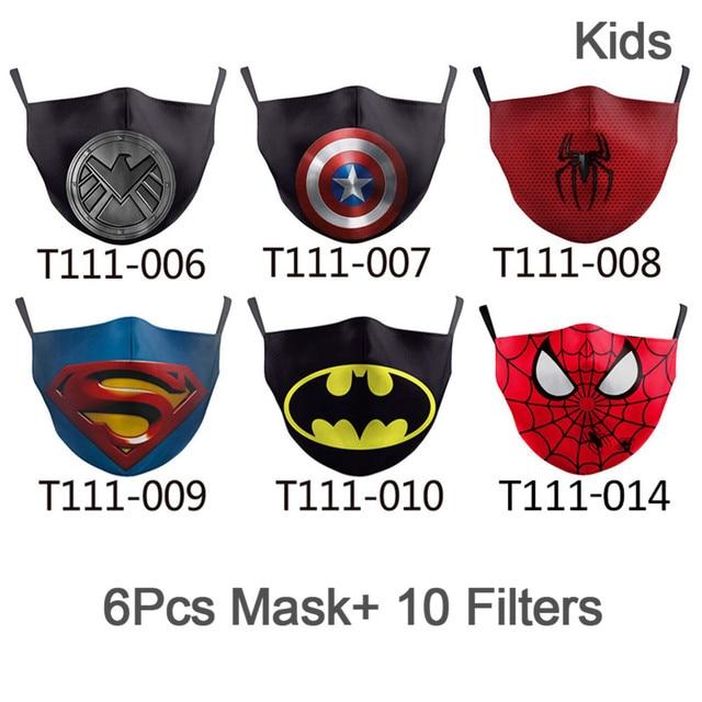 NADANBAO 6 Pcs Sets Superhero Kids Adult Mask Superman Captain Print Face Cosplay Masks Reusable Children Mask Fabric Mask 1