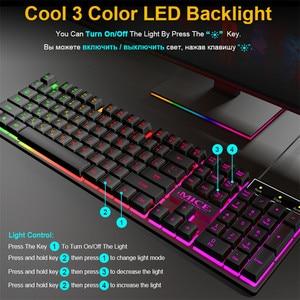 Image 5 - Wired Gaming Keyboard Led Backlit Keyboards 104 Keys Waterproof Keycaps Gamer Keyboards Computer Imitation Mechanical Keyboard