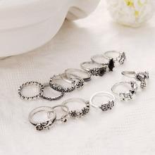 13 sztuk/zestaw Vintage kobiety wąż słoń krzyż pierścienie kwiatowe zestaw czarny kryształ nowy moda pierścień dla kobiet biżuteria ślubna palec