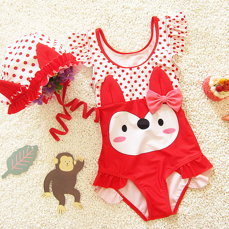 Korean-style Cute Infants Cartoon One-piece Triangle Belt HAT Medium And Small Virgin Baby Hot Springs Students Swimming Suit