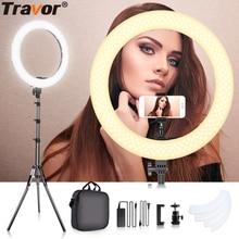 Travor 18 אינץ LED טבעת אור ניתן לעמעום Bi צבע 512PCS טבעתי מנורת עם חצובה עבור סטודיו צילום תאורה טבעת מנורה