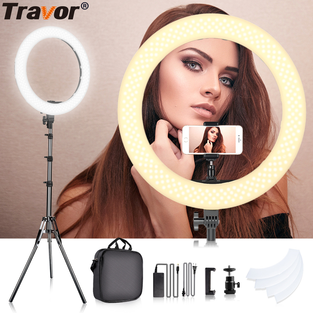 Travor 18 inch LED Ring Light Dimmable Bi color 512PCS Annular Lamp With Tripod For Studio Photography Lighting Ring Lamp