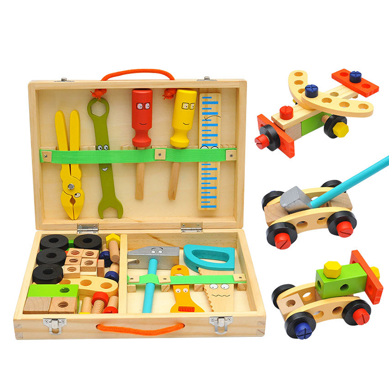 DIY Children Pretend Play Toy Wooden Multifunctional Tool Set Toy Simulation Repair Box Educational Toys Play House Toy Boy Gift