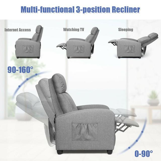Massage Recliner Chair Single Sofa Fabric Padded Seat Theater Home w/ Footrest Gray 5