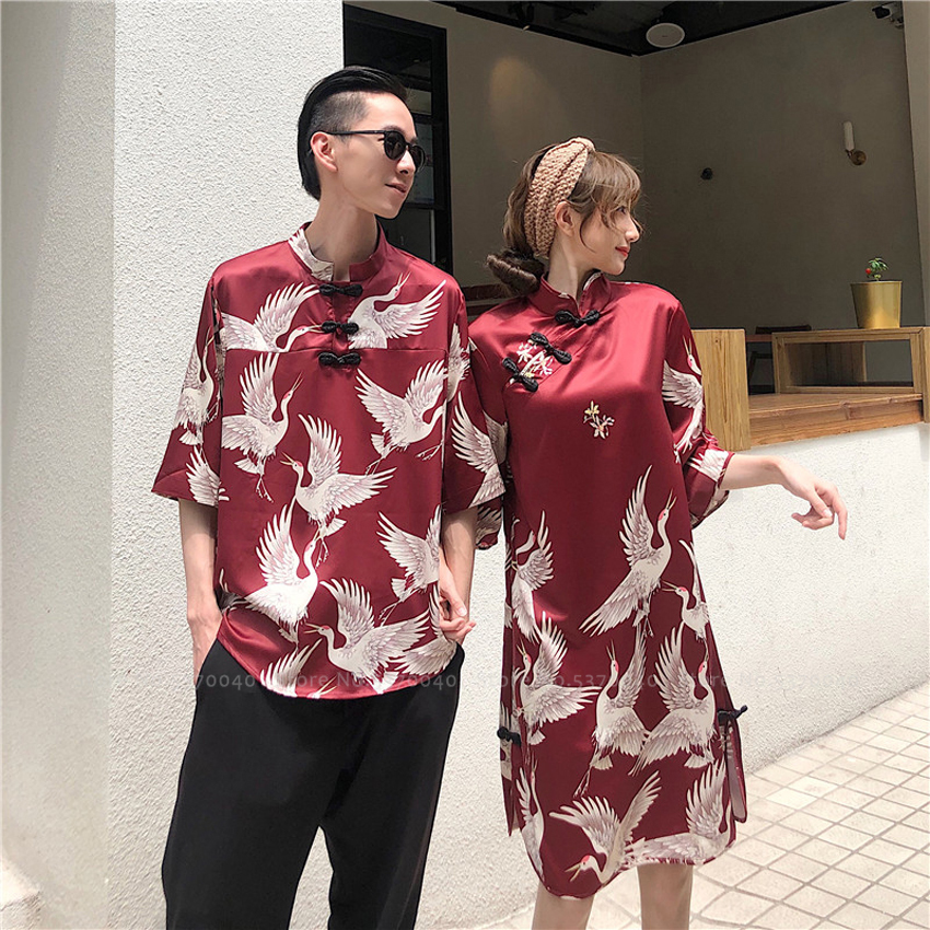 Women Men Couple Oriental Hanfu Blouse Chinese Tang Suit Cheongsam Qipao Party Dress Men Kimono Tops Harajuku T-shirt Streetwear