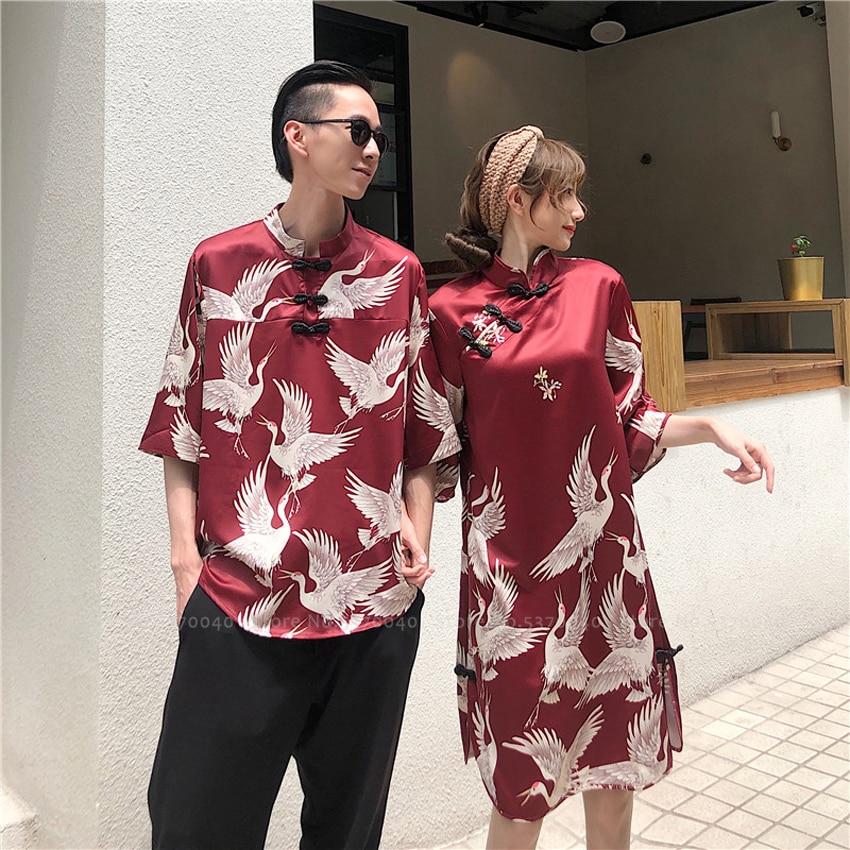 Women Men Couple Oriental Hanfu Blouse Chinese Tang Suit Cheongsam Qipao Party Dress Men Kimono Tops Harajuku T-shirt Streetwear