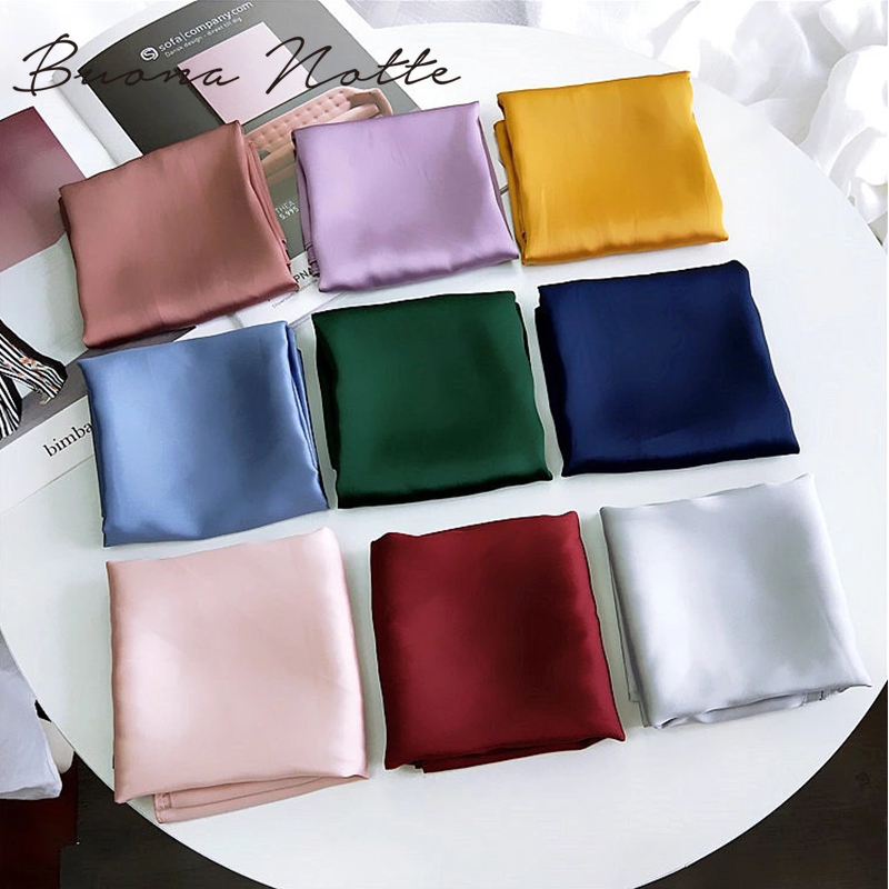 Fashion Solid Kerchief Women Head Scarf For Hair Pink Green White Silk Neck Scarfs Female 70cm*70cm Square Bandanas Lady Scarves