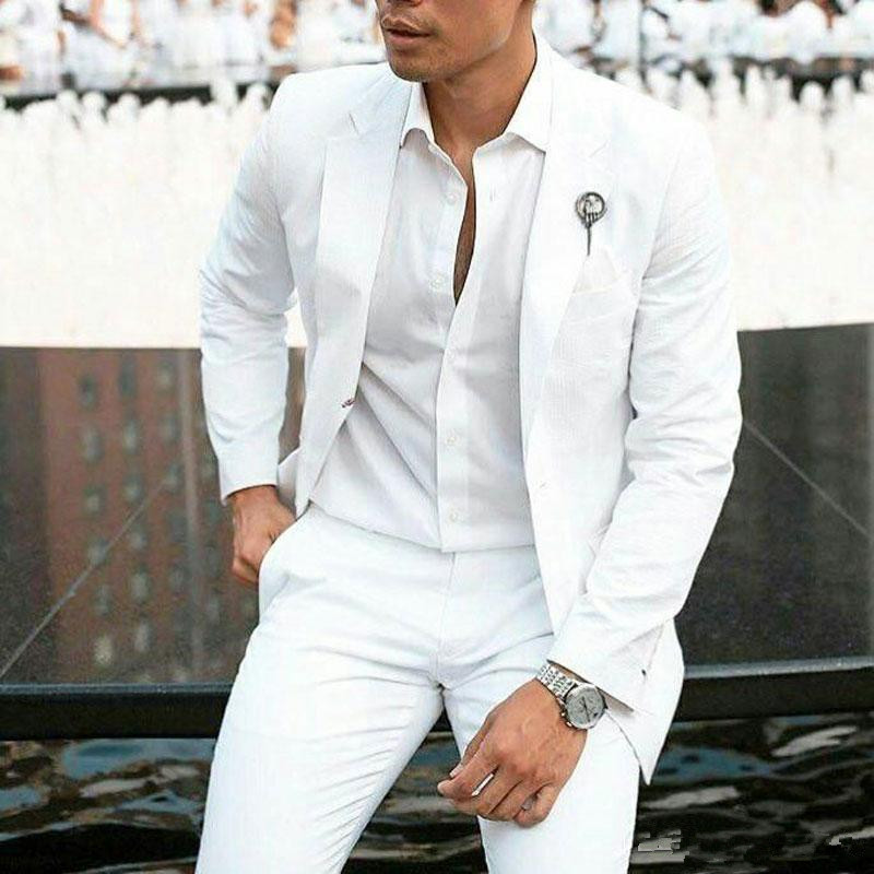 08Summer White Linen Groom Tuxedos Wedding Suits for Men Blazers Jacket Slim Fit Costume Homme 2Piece Latest Coat Pants Design Terno Masculino