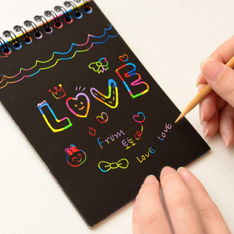 Useful Children Kids Craft Scratch Magic Art Painting Notebook Adult DIY Paint