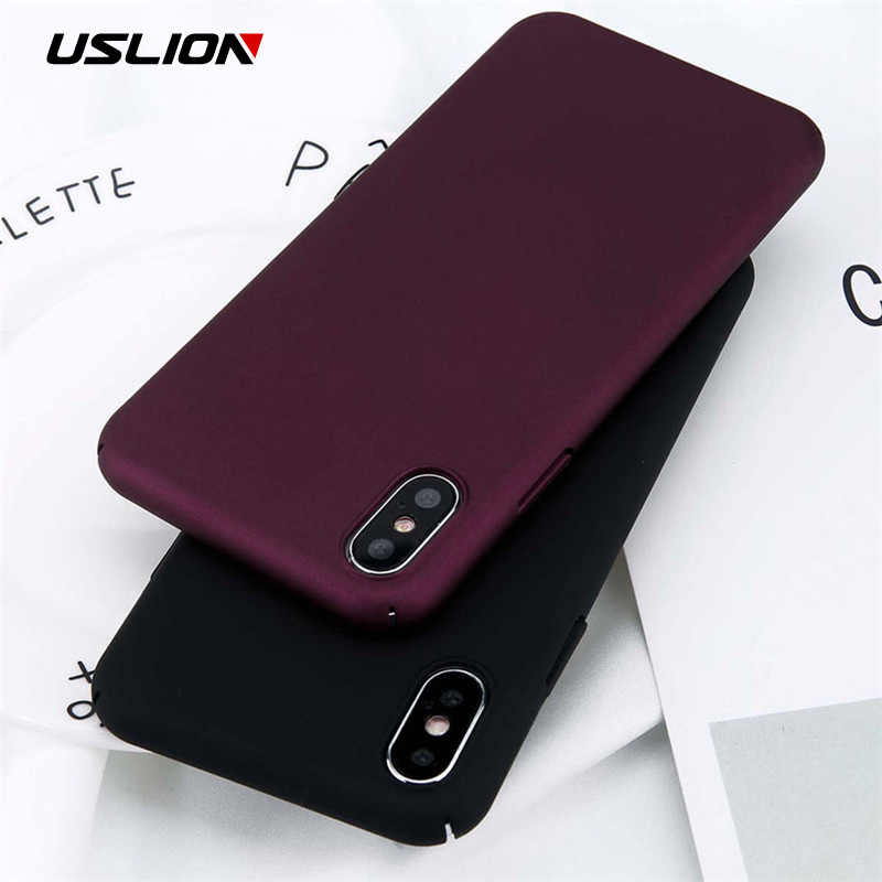 Uslion untuk iPhone 11 Pro Max X XS Max XR 8 7 Polos Phone Case Frosted Hard PC Back Cover untuk iPhone 8 7 6 6S PLUS 5 5S Se Kasus