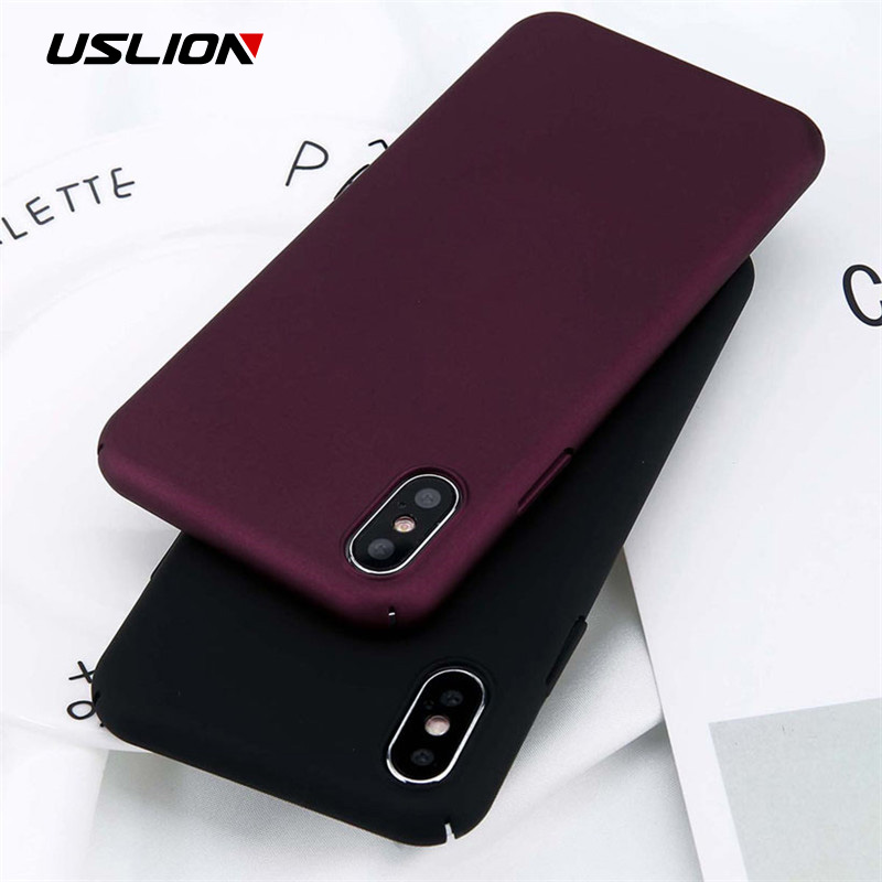USLION For iPhone X Xs Max XR 8 7 Simple Plain Phone Case Slim Frosted Hard PC Back Cover For iPhone 8 7 6 6S Plus 5 5S SE Cases iphone x simple back cover