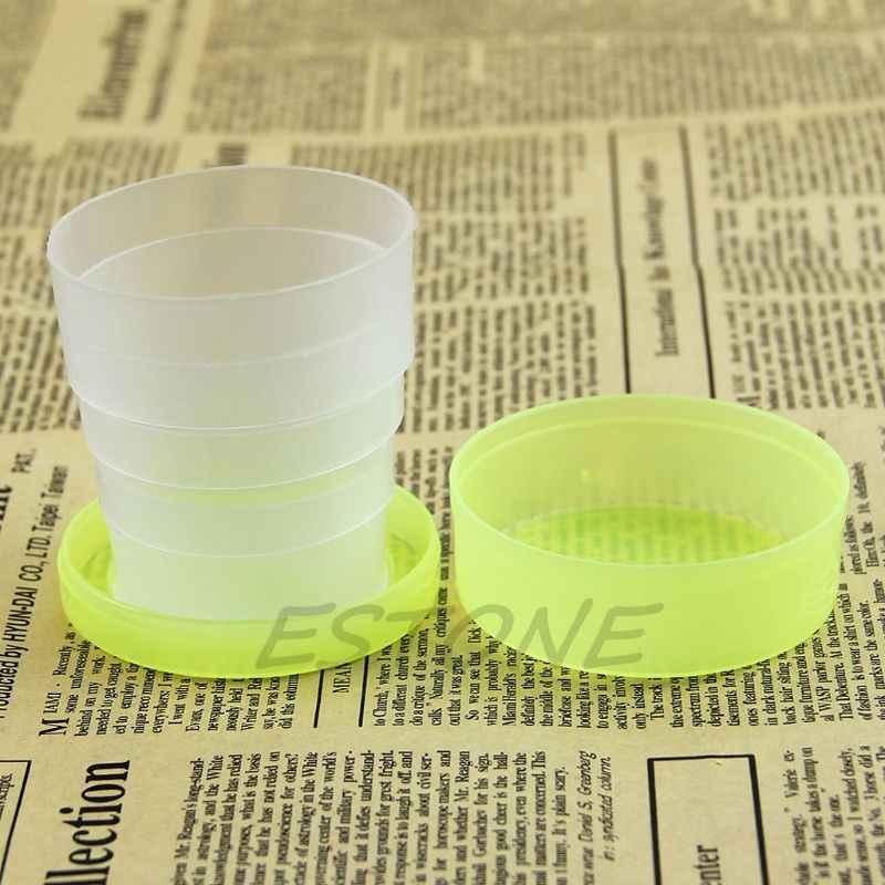 1Pc Draagbare Plastic Intrekbare Vouwen Cup Telescopische Inklapbare Outdoor Reizen Drie Kleur