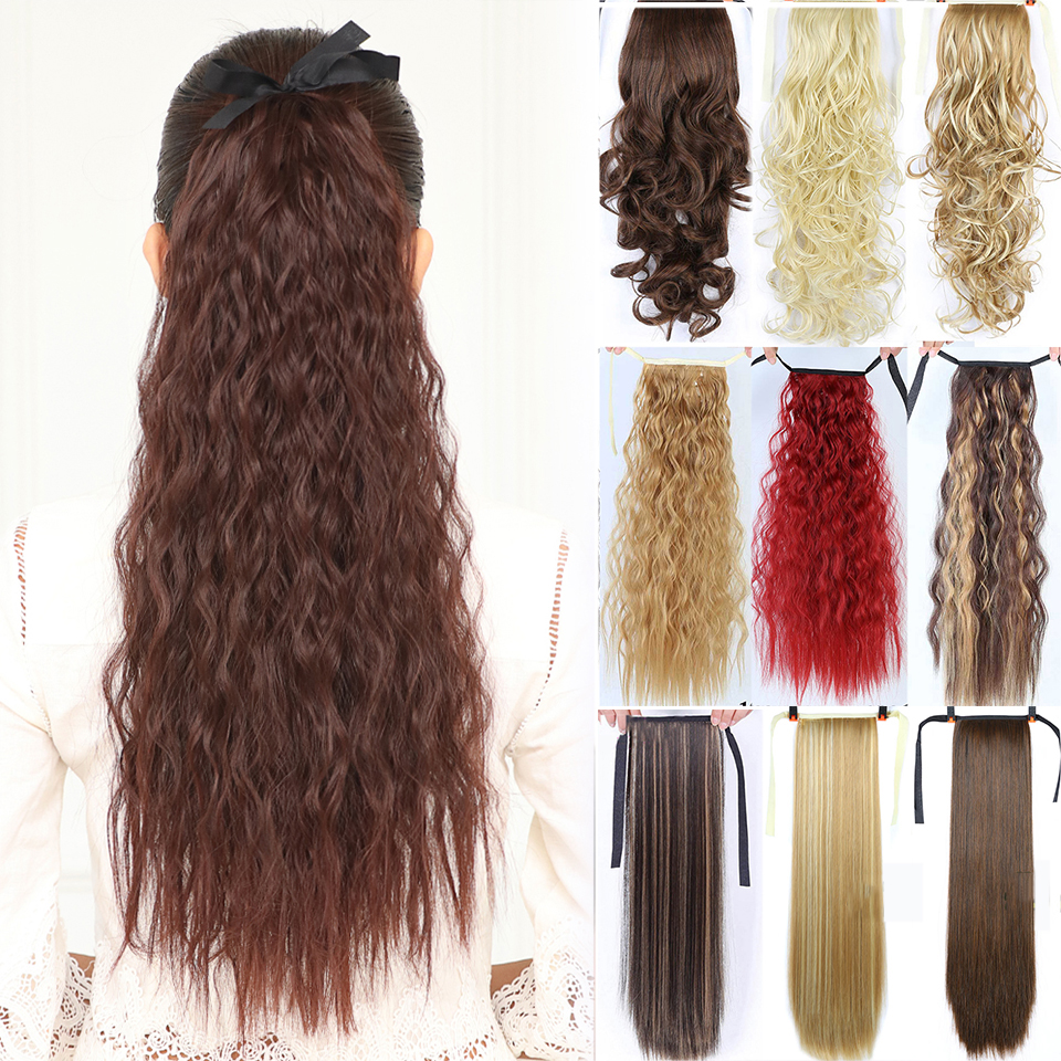 Allaosify Long Straight Clip In Hair Fake Hair Ponytail Hairpiece With Hairpins Synthetic Hair Pony Tail Hair Extensions  Brown