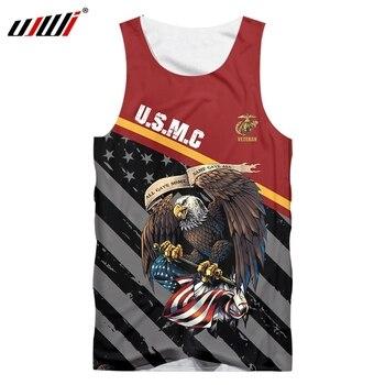 UJWI Eagle/American Flag Vest 3D Printed Tank Top Men Sleeveless Shirt Summer Sportswear Bodybuilding Undershirt Tees Tops
