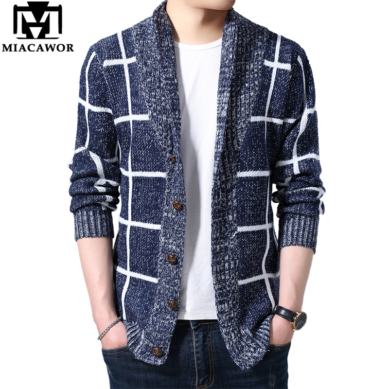 MIACAWOR Sweater Men Plaid Cardigan Men Autumn Knitted Sweater Coats Knitting Jumper Slim Fit Pull Homme Dropshipping Y162