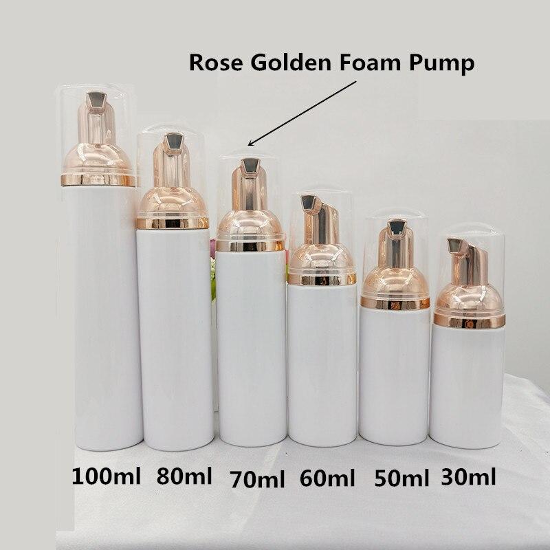 30ps 30 60ml Plastic Foamer Pump Bottle Refillable Empty Cosmetic Bottle Liquid Soap Dispenser Foam Bottle Rose Golden Foamer