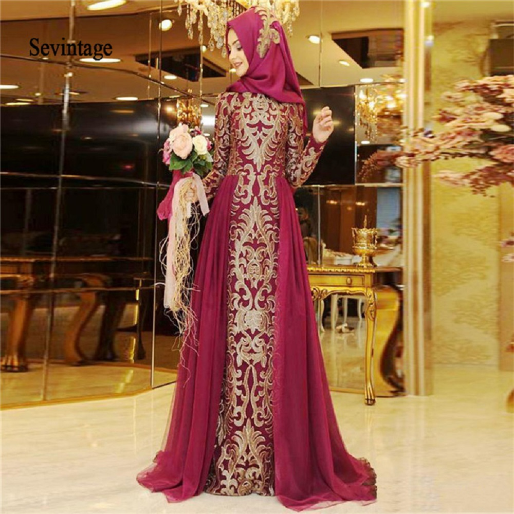 Sevintage Long Sleeve Muslim Evening Dress African High Neck Gold Lace Appliques Arabic Dubai Formal Prom Party Gown 2020