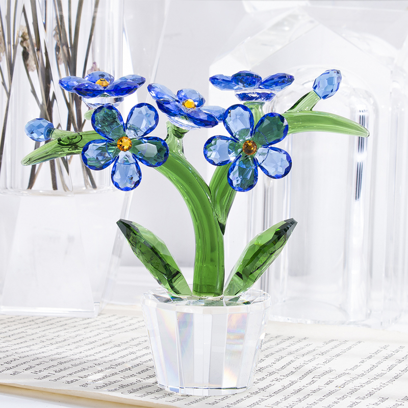 H&D Crystal Flower Figurines Forget-me-not Glass Ornament Paperweight Home Wedding Decor Favors Souvenir Gift Ofr Lovers  (Blue)