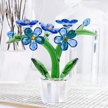 H & Dคริสตัลดอกไม้Figurines Forget Me Notเครื่องประดับแก้วPaperweightบ้านตกแต่งงานแต่งงานโปรดปรานของที่ระลึกของขวัญofrคนรัก (สีฟ้า)