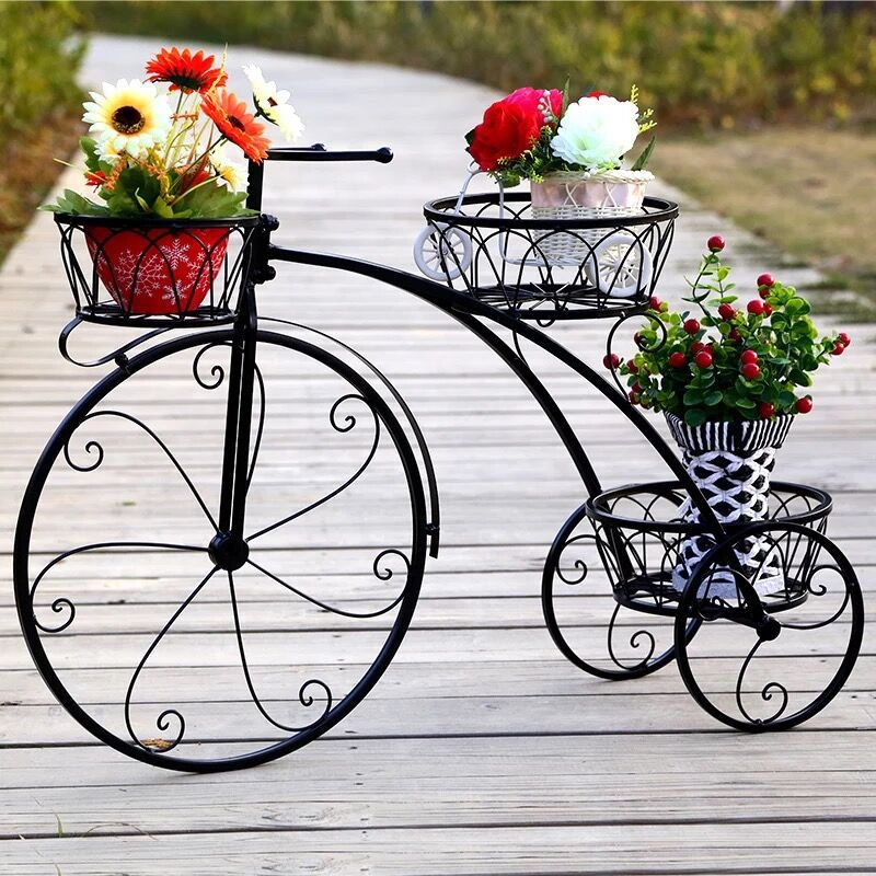 Iron Plant Shelf Flower Rack Nordic Metal Floor Shelf Multi-layer Bicycle Metal Shelves Plants Stand Outdoor Metal Garden Decors