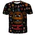 4-14 лет детей с героями игры «пять ночей с Фредди», с забавными рисунками, с 3D футболка для маленьких девочек; 5 Фредди» Одежда для маленьких м...