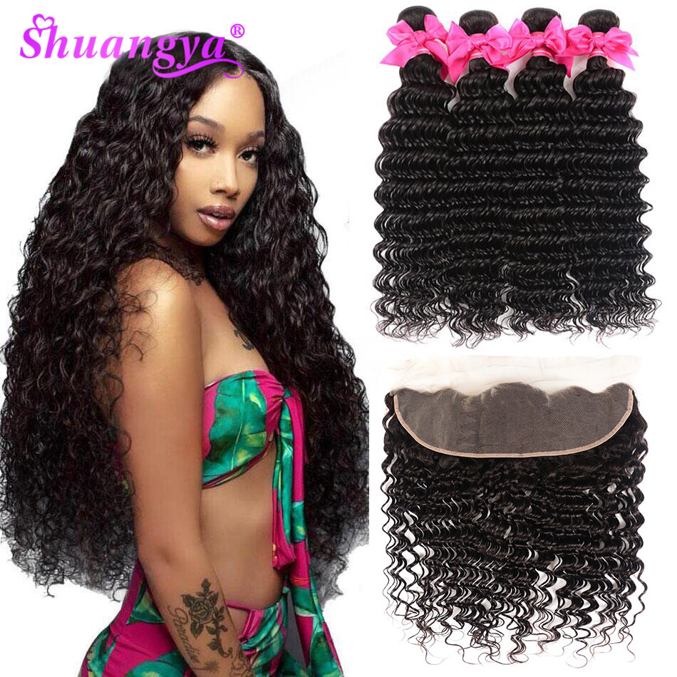 Shuangya Hair Brazilian Deep Wave Bundles With Frontal Human Hair 3/4 Bundles With Frontal Remy Hair Frontal With Bundles