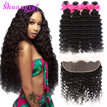 Shuangya Hair Brazilian Deep Wave Bundles With Frontal Human 3/4 Remy