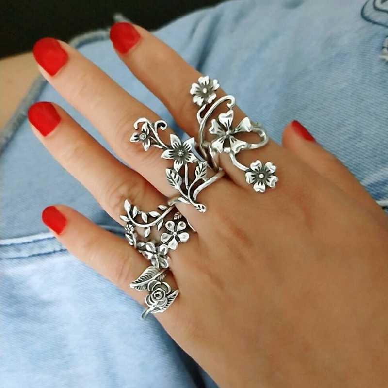 4 шт. женское кольцо винтажные кольца для суставов палец для женщин турецкий большой цветок лист Midi палец кольцо Набор Boho Панк ювелирные изделия 2018