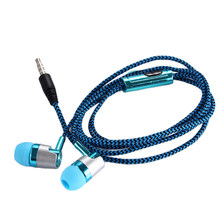 H-169 3.5mm MP3 MP4 Wiring Subwoofer Braided Cord, Universal Music Headphones with Wheat Wire Control(blue)(China)