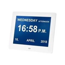 8 Inch Photo Frame & Digital Alarm LED Screen Simple Eletronic Photo Album Support Clock/Photo/Video for Elder People with Remot