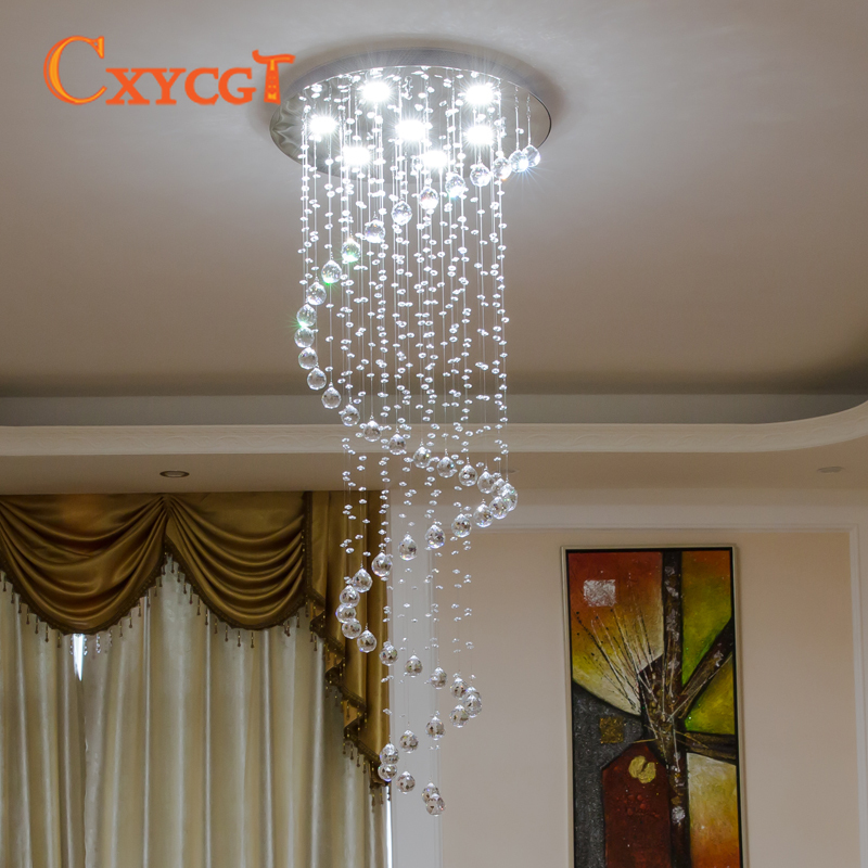 Modern Luster Crystal Chandeliers Lighting Fitting Double Staircase LED Pendant Lamp For Foyer Dining Room Restaurant Decoration lamp form lamp t8 lamp pot - title=