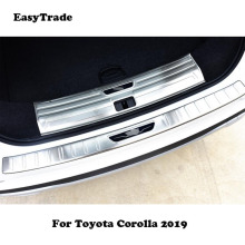 купить For Toyota Corolla 2019 Accessories Car Rear Door Sill Plate Protector Anti-Scuff Trunk door sill Stainless steel Rearguard в интернет-магазине