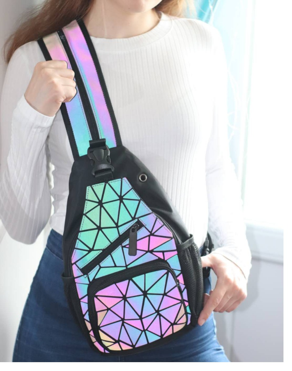 Female Chest Bags Women's Shoulder Messengers bag canvas Luminous Crossbody Bags for women Designer Pouch holographic Bag