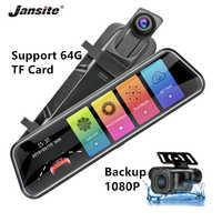 Jansite 10 pollici Specchio 1080P Auto DVR Streaming Multimediale Touch Screen Videocamera per auto dash cam macchina fotografica di retrovisione del Monitor di parcheggio registratore