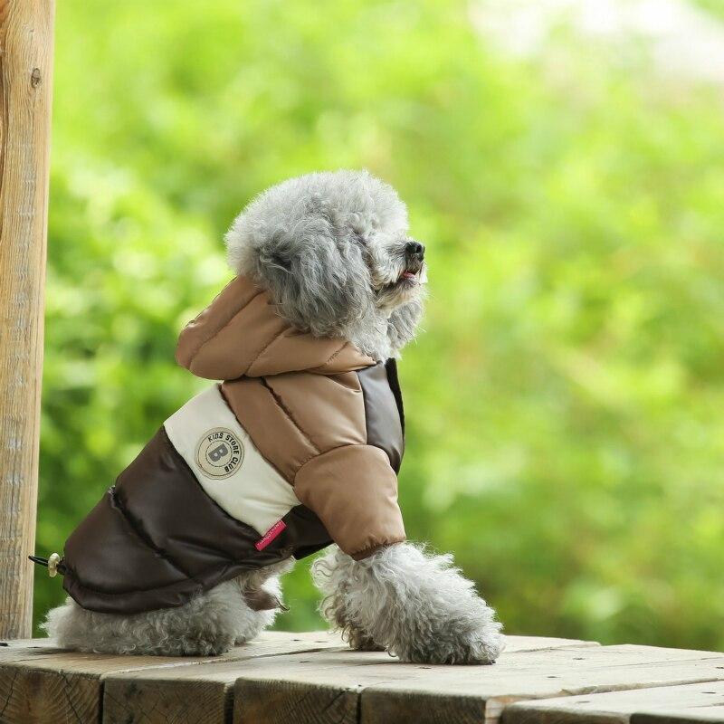 Куртка для маленьких питомцев, зимняя теплая одежда для собак, костюм для щенков, толстовка с капюшоном, светильник, два фута, пальто, лыжный костюм, чихуахуа-2