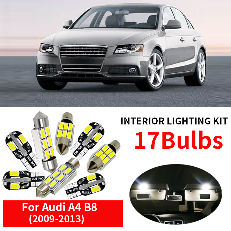 17pcs White Canbus Car LED Light Bulbs Interior Kit For 2009-2013 Audi A4 B8 Avant Map Dome Door License Plate Lamp Replace Halo