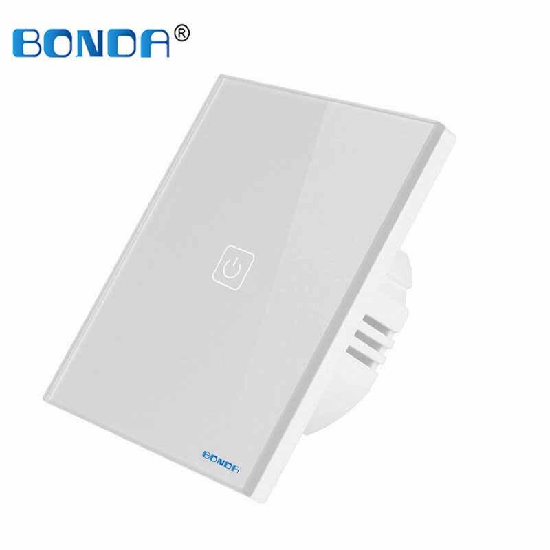 BONDA Touch Schalter EU/UK standard Weiß Kristall Glas Panel wand Schalter, AC220V,1 Gang 1 Weg, EU Licht Wand Touchscreen Schalter