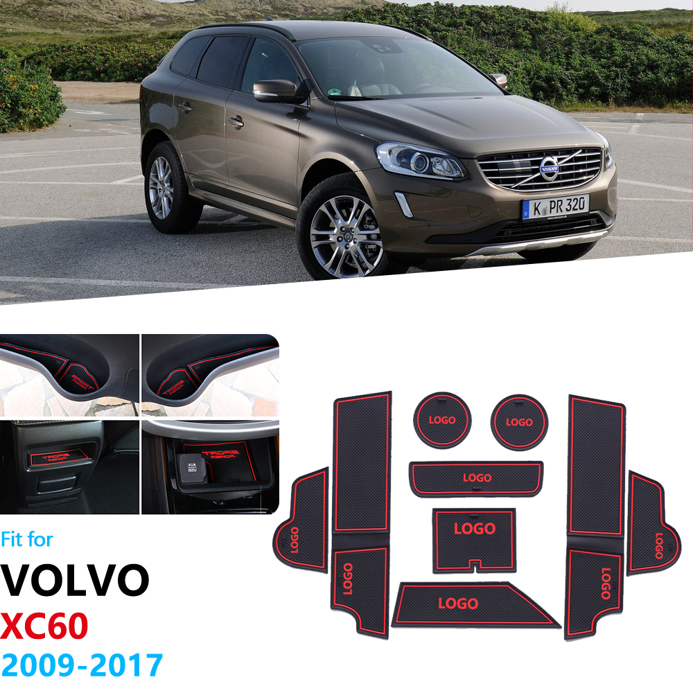 Anti-Slip Rubber Gate Slot Cup Mat For VOLVO XC60 2009 2010 2011 2012 2013 2014 2015 2016 2017 Coaster XC 60 Car Accessories