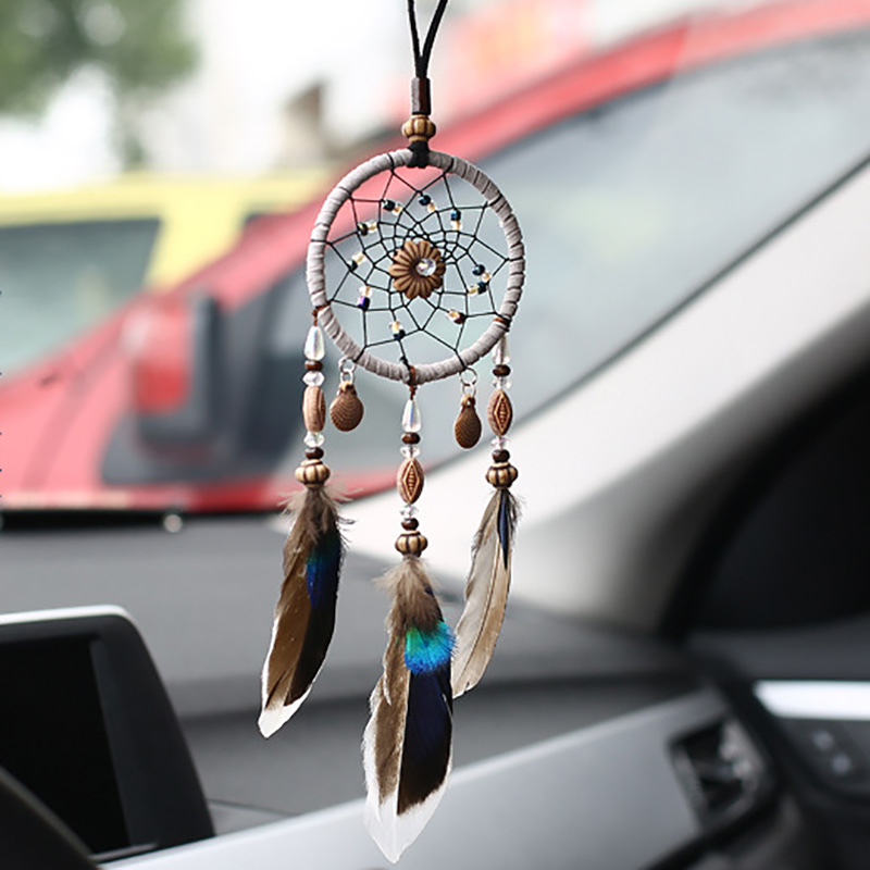 Handcraft Car Pendants Dream Catcher Feathers Hanging Accessories Auto Mirror Pendant In Ornaments Gifts Home Decoration