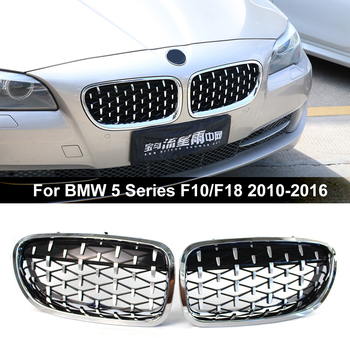 2Pcs Car Front Kidney Grille Diamond Grille for BMW 5 Series F10 F11 F18 2010-2016 520i 525i 528i 530i Chrome Black Car Styling made in taiwan carbon fiber material m5 look front kidney grill grille for bmw 5 series f10 sedan 2010 520i 525i 530i 535i