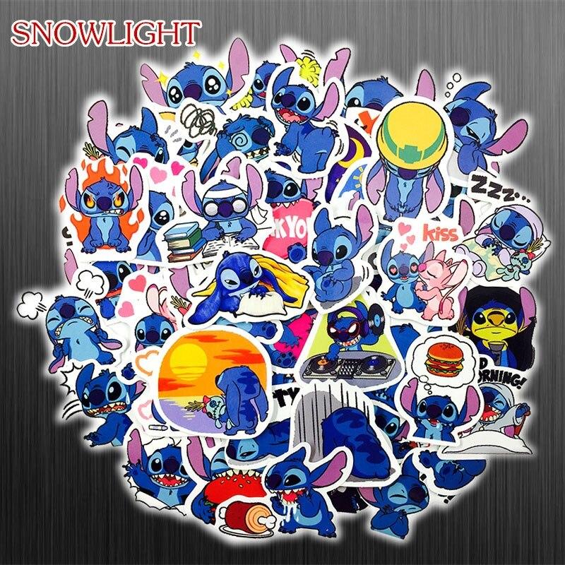 New 50Pcs/Set Cartoon Lilo Stitch Cute Sticker For Snowboard Laptop Luggage Car Fridge DIY Styling Vinyl Home Decor Pegatina(China)