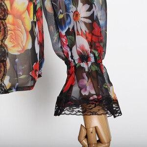 Image 5 - TWOTWINSTYLE 여성 셔츠 블라우스 Bowknot 플레어 긴 소매 패치 워크 레이스 인쇄 탑 여성 우아한 패션 2020 봄 새로운